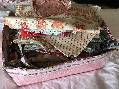 Fabric pieces for Quilting/ craft - shoebox full, mostly Vintage