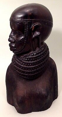 Vintage African 50's - 60's Ebony hard wood hand carved African woman signed
