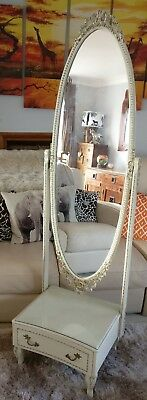 Vintage Ornate  French Louis Xv Cheval Mirror With Drawer Cream