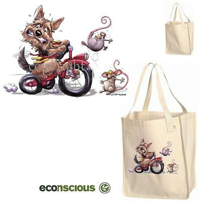 Australian Terrier Dog On Bicycle Cartoon Econscious Market Grocery Tote Bag
