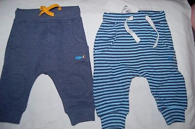 M&S 2 Pairs Jogging Trousers 1 Blue 1 Striped 100% Cotton. Age 3-6 Months BNWT