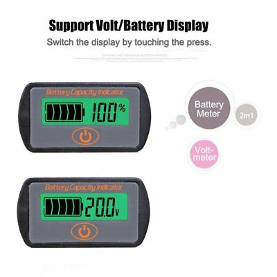 12V/24V Digital Lead-Acid Battery Percentage Voltmeter LCD Display Volt Meter U2
