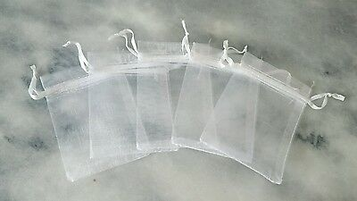 5 SMALL ORGANZA DRAWSTRING BAGS - 7cm by 9cm - Lovely for small gifts! White
