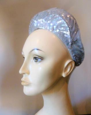 Stylish Vintage Baby Blue Sequin American Cocktail Wedding Halo Hat Band 1950's