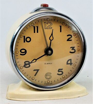 Vintage Analogue Wind Up 4 Jewel Alarm Clock, 60/70's Poss Russian. Working.