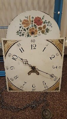 19th Century Grandfather Clock Face And Movement