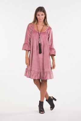 🌸 PQ Collection 🌸 Boho Pink Velvet Swing Smock Babydoll Dress M L XL 12 14 16