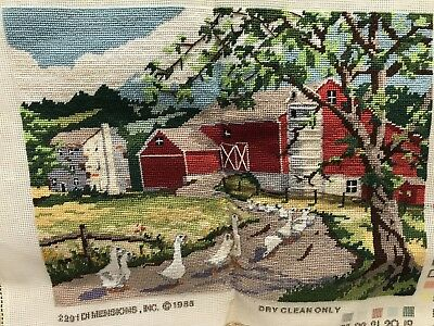 Vintage Completed Needlepoint Wall Art  Farmhouse Barn Duck Family Trees Flowers
