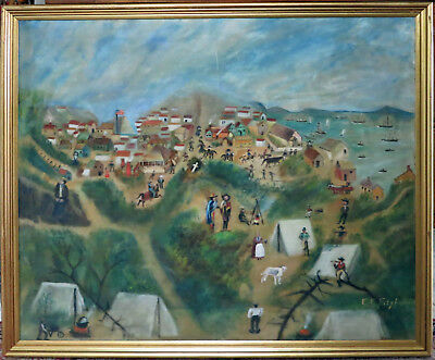 Old San Francisco primitive oil painting of circa 1900