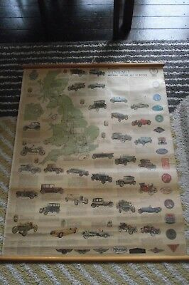 bartholomew vintage car poster cotton and paper schools ,