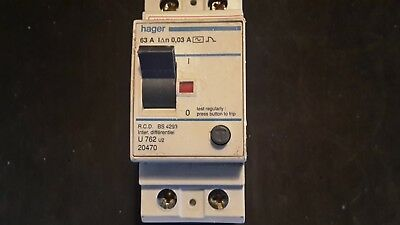 HAGER 63A 30mA BS4293 RCD