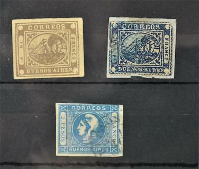 3 Buenos Aires Argentina Stamps 1858 - 1860   (K139)