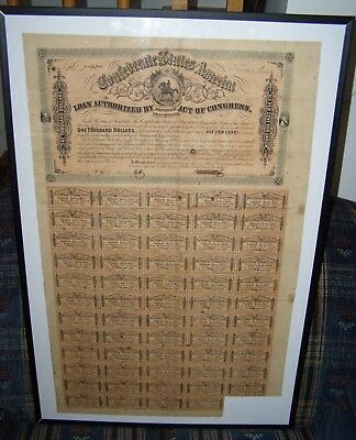 Confederate $1000 Equestrian Bond With 59 Of 60 Coupons Still Remaining
