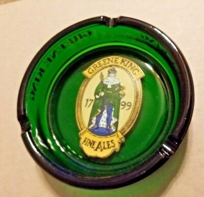 Vintage Greene King Fine Ales Green Glass Ashtray Bar Beer Advertising 5.5""