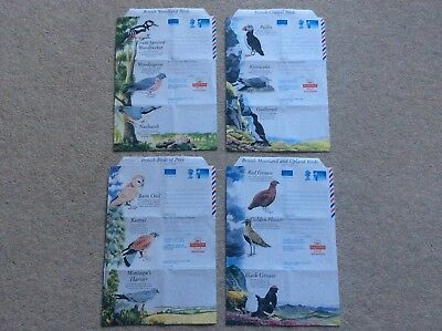 4 GB Aerogramme/ air mail 1st Class QE11 Envelopes from the 1994 RSPB Series