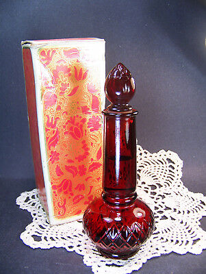 Vintage 1973 AVON GARNET Red BUD VASE Somewhere Cologne NIB