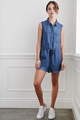 11c7cca7e55 NWT New Forever 21 Buttoned Chambray Jumpsuit Romper Dark Denim Blue Small S