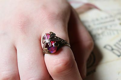 Dragonfly Ring with Dragon's Breath Vintage Style Golden Valentine's Day gift