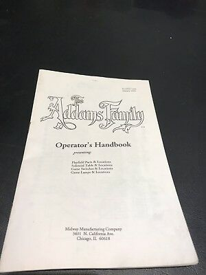 The Addams Family Pinball Machine Operator's Handbook Manual