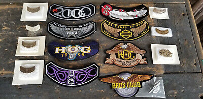 8 HARLEY DAVIDSON Harley Owners Group HOG Rocker Patches with Matching Pins