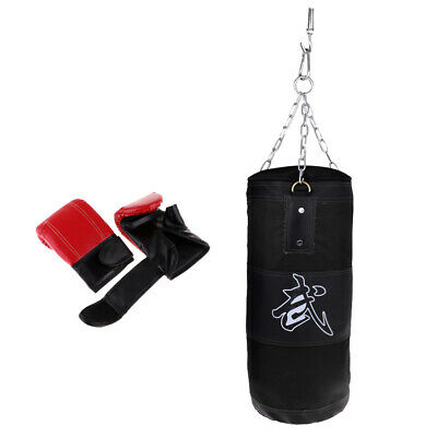 Heavy Duty Unfilled Punching Training Bag MMA Boxing With Chain And Gloves