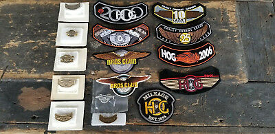 8 HARLEY DAVIDSON Harley Owners Group HOG Rocker Patches & 7 Pins