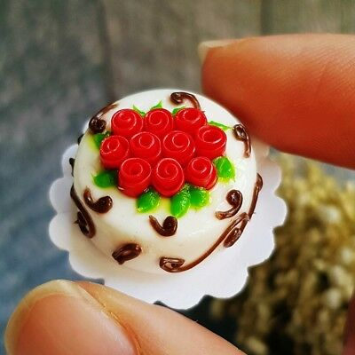 Red Rose Cake Dollhouse Miniature Food Sweet Bakery Barbie Valentine Supply Deco