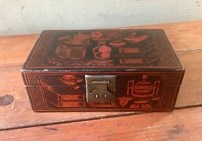Antique Red & Black Lacquer Chinese Asian Document Box