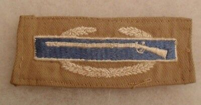 Wwii Combat Infantry Badge Embroidered On Tan Twill Fold Over Back