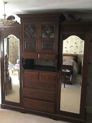 Large Antique Decorative Walnut Wardrobe