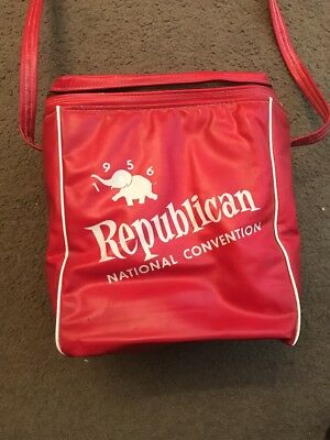 Vtg Coca Cola Insulated Cooler Vinyl Bag Red 1956 Republican National Convention