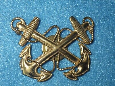 ORIGINAL WWII Navy Warrant Officer Cap Badge, Pancraft, SB