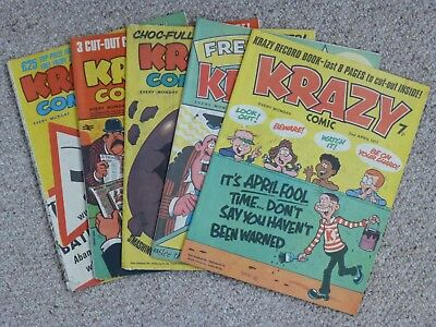 Krazy Comic x 5 - April 1977 - Near Mint Condition - Including Free Gift