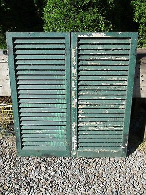 """Pair Old Victorian Wood Shutters, 39 3/4"""" x 18 5/8"""", Ca 1870 Historic Mansion"""
