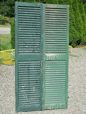 "Pair Old Victorian Wood Shutters, 73 1/2"" x 18 5/8"", Ca 1870 Historic Mansion"