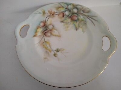 Hand Painted Porcelain Acorn Cake Plate with Handles Signed Dated