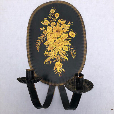 PAIR ANTIQUE Black and Gold Tin Tole Toleware Wall Candle Sconces Hand Painted