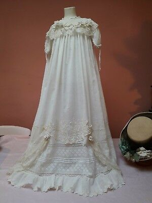 Antique Christening Gown Dress Lace Cotton Embroidery Doll Vintage English