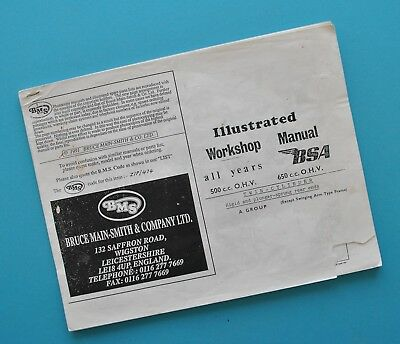 1940's - 1950's BSA A7 Star A10 Flash Motorcycle Service Manual Book