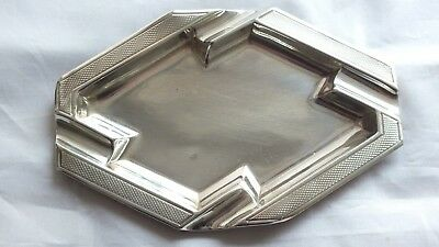 Solid Silver Beautiful Art Deco Ashtray B'ham 1944 by Bishton's Ltd