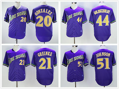a8dd9515 Men's Throwback Purple Stitched Jersey Arizona Diamondbacks #20 #21 #44 #51