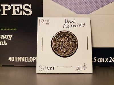 1912 Newfoundland 20 Cents Silver Foreign Coin