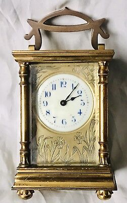 Antique Brass 8 Day French Ornate Floral Depiction Around Dial Carriage Clock ⭐️