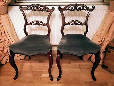 A Pair of Victorian Reupholstered Solid Rosewood Cabriole Leg Chairs