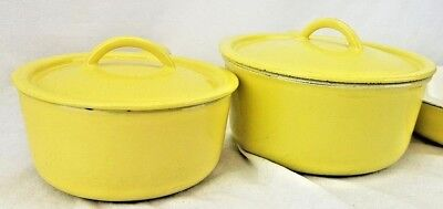 Vtg Descoware Cast Iron Enamel Yellow 2 Pots SP-214 7/8QT & SP-218 1 1/2QT