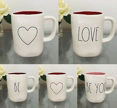 RAE DUNN NEW Valentines LL Mug RED or PINK Inside - Double/Single Sides