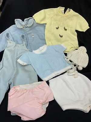 Vintage Baby Clothes Lot Blue Yellow White Pink