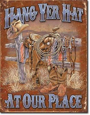 """Hang Yer Hat At Our Place Western Cowboy Boots Hat Saddle Tin Metal Sign NEW 16"""""""