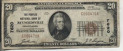 1929 The Peoples Nat'l Bank Of Reynoldsville, Pa, $20 Very Fine+ Charter #7620