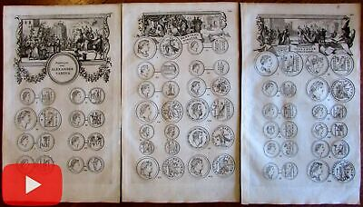 Ancient Roman coins Numismatic prints lot x 3 issued 1700 by Goree